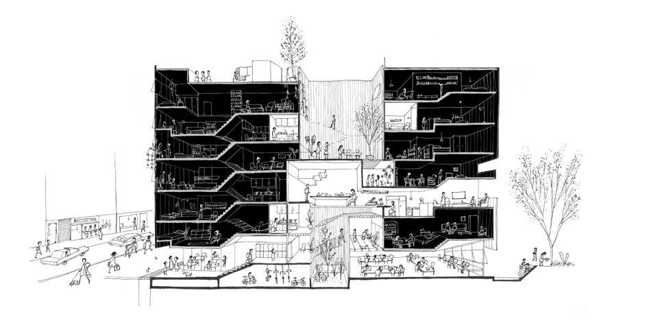 NYC_Communal-Apt_drawing_100bw